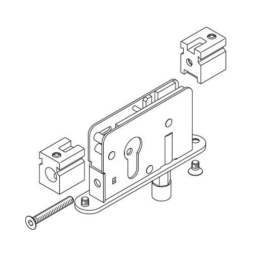 Hafele 946.50.010 Deadbolt Lock With Guide Roller for Profile Cylinder