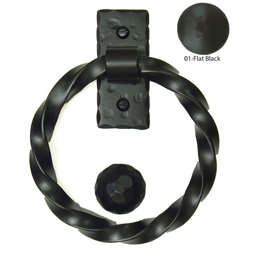 Agave Ironworks KN007/PU012-01 Twisted Ring Knocker Pull