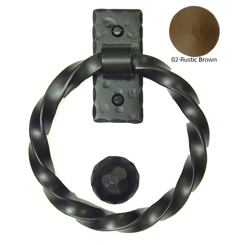 Agave Ironworks KN007/PU012-02 Twisted Ring Knocker Pull