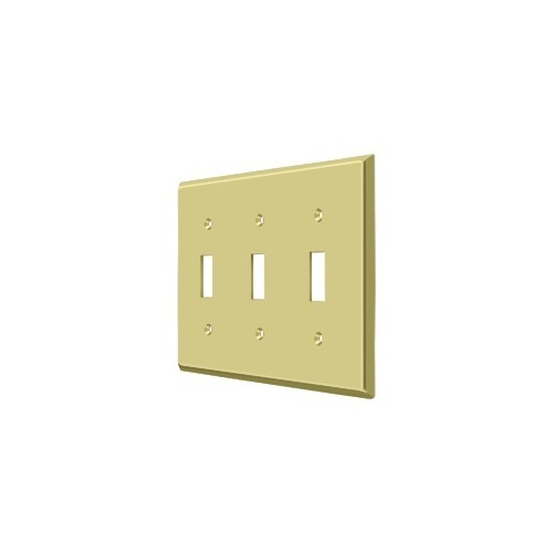 Deltana SWP4763U3 Switch Plate, Triple Standard, Polished Brass