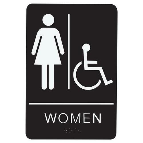 Jacknob 130743 Sign Restroom Women Handicap - Braille - Black Acrylic