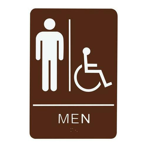 Jacknob 130780 Sign Restroom Men Handicap - Braille - Brown Acrylic