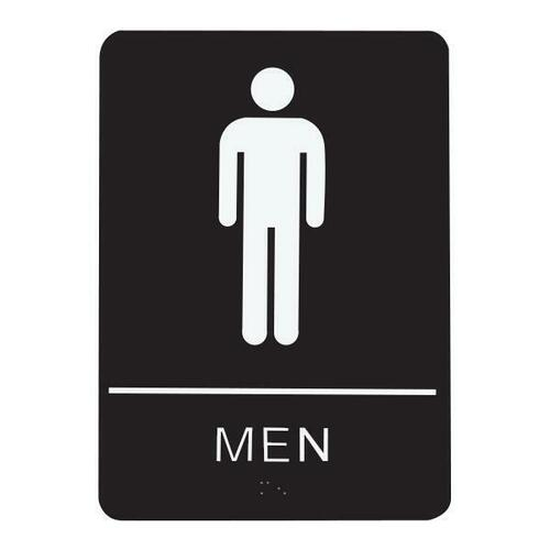 Jacknob 130740 Sign Restroom Men - Braille - Black Acrylic