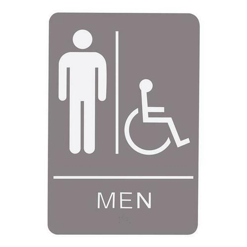 Jacknob 130783 Sign Restroom Men Handicap - Braille - Gray Acrylic
