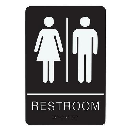 Jacknob 130744 Sign Restroom Unisex - Braille - Black Acrylic