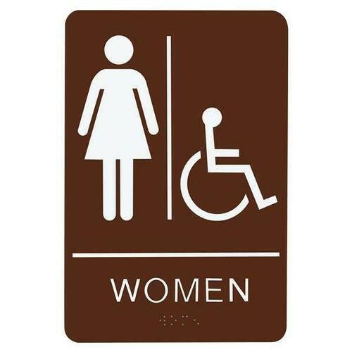 Jacknob 130781 Sign Restroom Women Handicap - Braille - Brown Acrylic