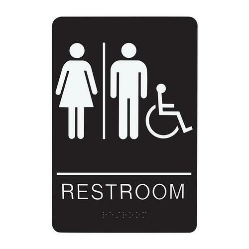 Jacknob 130745 Sign Restroom Unisex Handicap - Braille - Black Acrylic