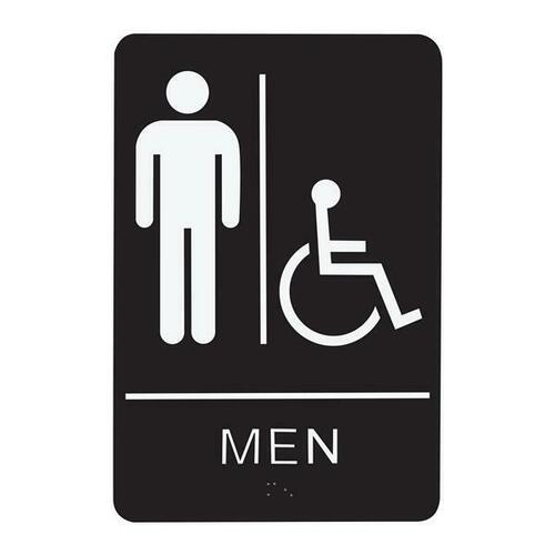 Jacknob 130741 Sign Restroom Men Handicap - Braille - Black Acrylic
