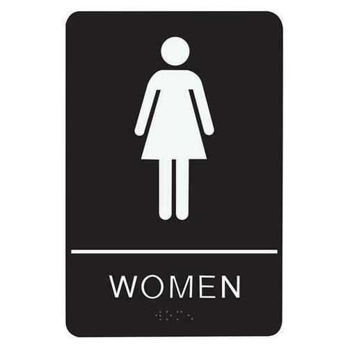 Jacknob 130742 Sign Restroom Women - Braille - Black Acrylic
