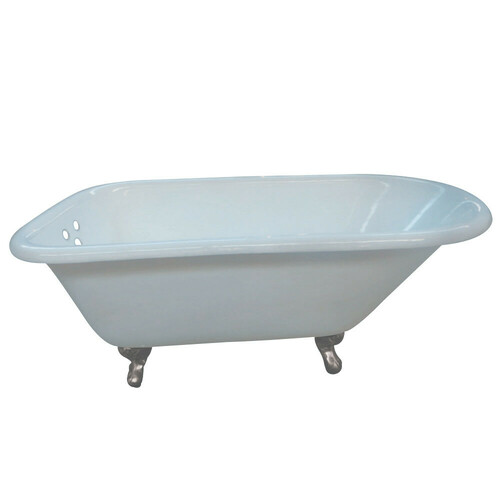 Kingston Brass VCT3D663019NT8 66-Inch Cast Iron Roll Top Clawfoot Tub with 3-3/8 Inch Wall Drillings, White/Brushed Nickel