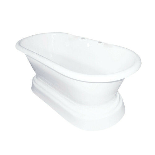 Kingston Brass VCT7D663025 66-Inch Cast Iron Double Ended Pedestal Tub with 7-Inch Faucet Drillings, White