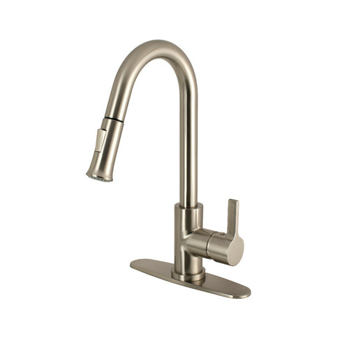 Kingston Brass LS8688CTL Continental Single-Handle Pull-Down Kitchen Faucet, Brushed Nickel