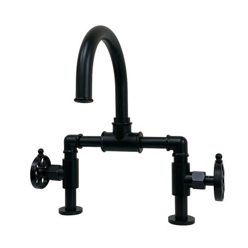 Kingston Brass KS2170RX Belknap Industrial Style Wheel Handle Bridge Bathroom Faucet with Pop-Up Drain, Matte Black