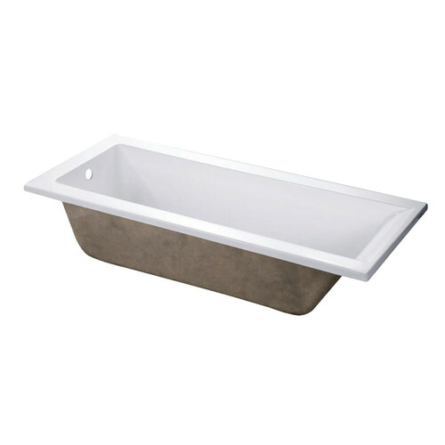 Kingston Brass VTPN672817 67-Inch Acrylic Rectangular Drop-In Tub with Reversible Drain Hole, White