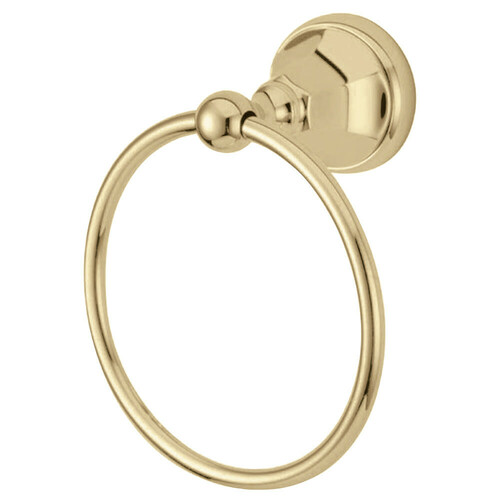Kingston Brass BA4814PB Metropolitan 6-Inch Towel Ring, Polished Brass