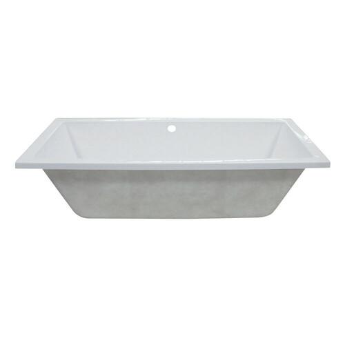 Kingston Brass VTPN593017C 59-Inch Acrylic Rectangular Drop-In Tub with Center Drain Hole, White