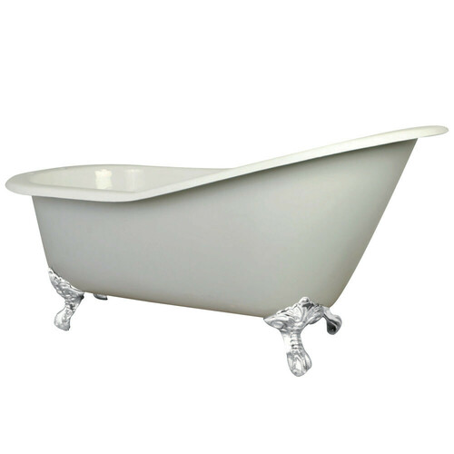 Kingston Brass VCT7D653129BW 61-Inch Cast Iron Single Slipper Clawfoot Tub with 7-Inch Faucet Drillings, White