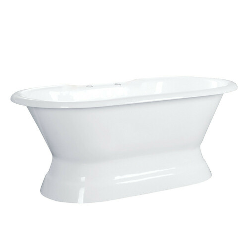 Kingston Brass VCT7D663024 66-Inch Cast Iron Double Ended Pedestal Tub with 7-Inch Faucet Drillings, White