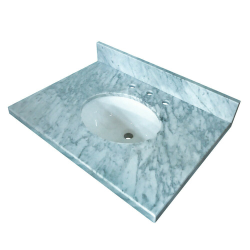 Kingston Brass KVPB3622M38 Templeton 36-Inch X 22-Inch Marble Vanity Top with Undermount Sink, Carrara Marble