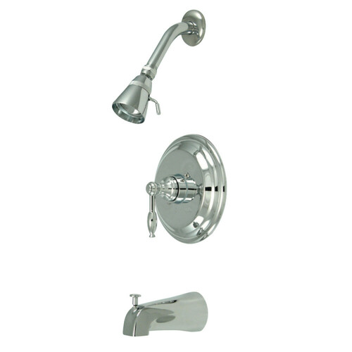 Kingston Brass GKB2631KL Water Saving Knight Tub & Shower Faucet with Lever Handles, Polished Chrome