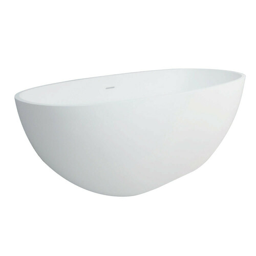 Kingston Brass VRTRS653123 Arcticstone 65-Inch Solid Surface White Stone Freestanding Tub with Drain, Matte White