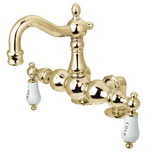 Kingston Brass CC1095T2 Vintage 3-3/8-Inch Deck Mount Tub Faucet, Polished Brass