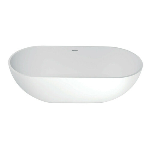 Kingston Brass VRTRS703520 Arcticstone 70-Inch Solid Surface White Stone Freestanding Tub with Drain, Matte White