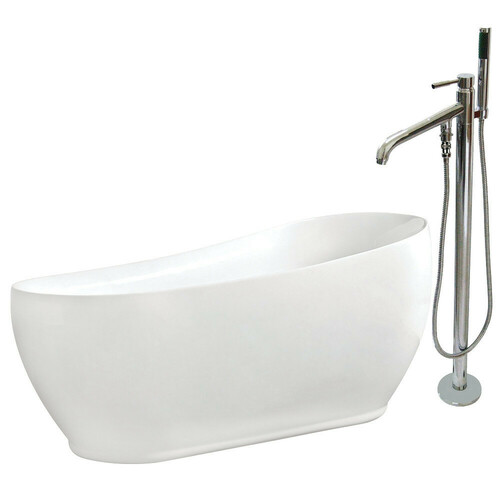 Kingston Brass KTRS723432A1 71-Inch Acrylic Single Slipper Freestanding Tub Combo with Faucet and Drain, White/Polished Chrome