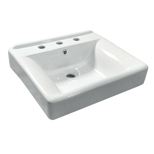 Kingston Brass EV2018W38 Concord Ceramic Recessed Drop-In Bathroom Sink, White