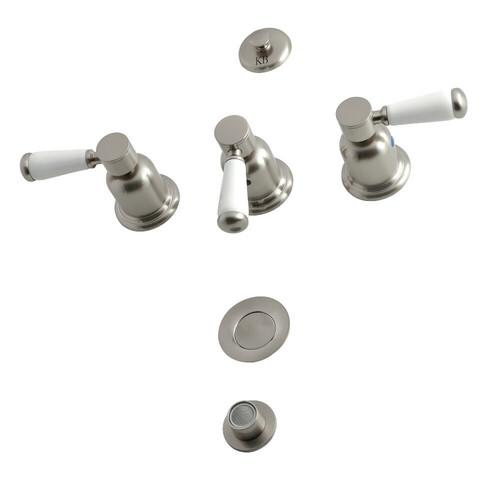 Kingston Brass KB6328DPL 3-Handle Bidet Faucet, Brushed Nickel