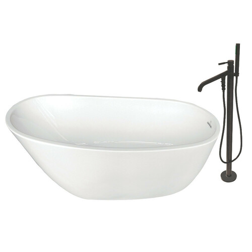 Kingston Brass KTRS592928A5 59-Inch Acrylic Single Slipper Freestanding Tub Combo with Faucet and Drain, White/Oil Rubbed Bronze