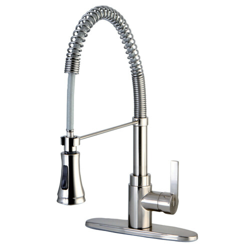 Kingston Brass GSY8878CTL Continental Single-Handle Pre-Rinse Kitchen Faucet, Brushed Nickel
