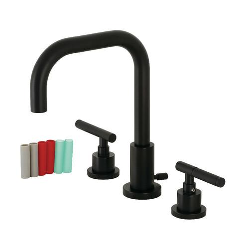 Kingston Brass FSC8930CKL Kaiser Widespread Bathroom Faucet with Brass Pop-Up, Matte Black