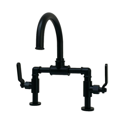 Kingston Brass KS2170KL Whitaker Industrial Style Bridge Bathroom Faucet with Pop-Up Drain, Matte Black