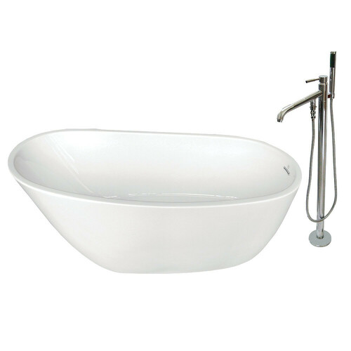 Kingston Brass KTRS592928A1 59-Inch Acrylic Single Slipper Freestanding Tub Combo with Faucet, White/Polished Chrome