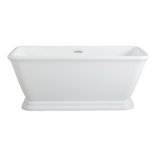 Kingston Brass VTSQ602824 60-Inch Acrylic Double Ended Pedestal Tub with Square Overflow and Pop-Up Drain, White