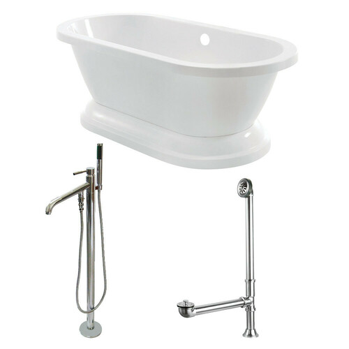 Kingston Brass KT7PE672824B1 67-Inch Acrylic Double Ended Pedestal Tub Combo with Faucet and Supply Lines, White/Polished Chrome