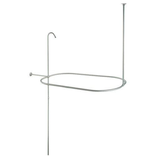 Kingston Brass CC10408 Vintage Oval Shower Riser With Enclosure, Brushed Nickel