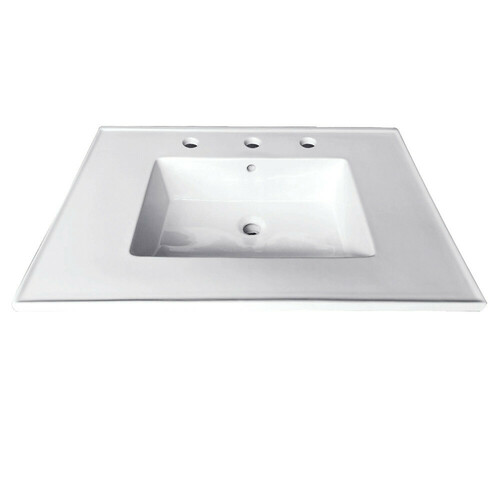 Kingston Brass LBT25227W38 Continental 25-Inch X 22-Inch Ceramic Vanity Top with Integrated Basin 3H, White