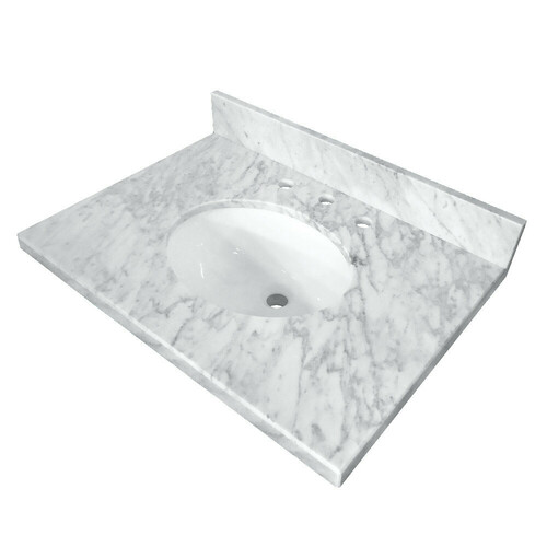 Kingston Brass KVPB3022M38 Templeton 30-Inch X 22-Inch Marble Vanity Top with Undermount Sink, Carrara Marble