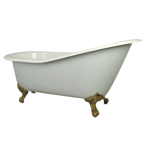 Kingston Brass VCT7D653129B2 61-Inch Cast Iron Single Slipper Clawfoot Tub with 7-Inch Faucet Drillings, White/Polished Brass