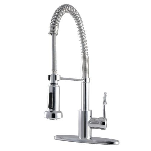 Kingston Brass GSY8881NKL Nustudio Single-Handle Pre-Rinse Kitchen Faucet, Polished Chrome
