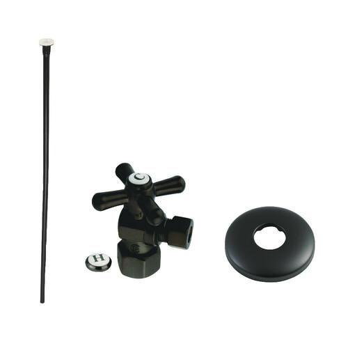 Kingston Brass KTK100MBP Trimscape Toilet Supply Kit Combo 1/2-Inch IPS X 3/8-Inch Comp Outlet, Matte Black