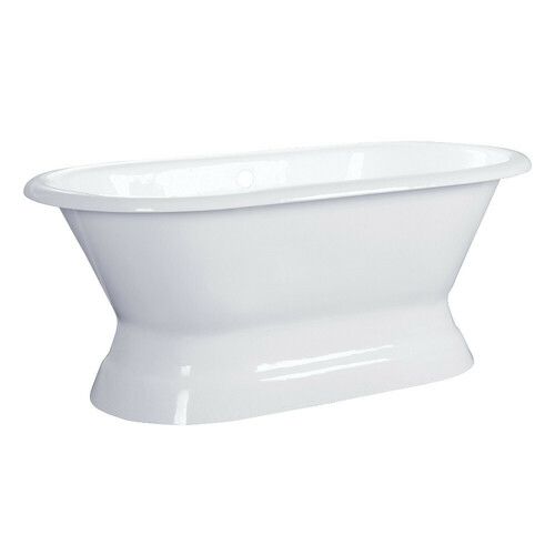 Kingston Brass VCTND603024 60-Inch Cast Iron Double Ended Pedestal Tub (No Faucet Drillings), White