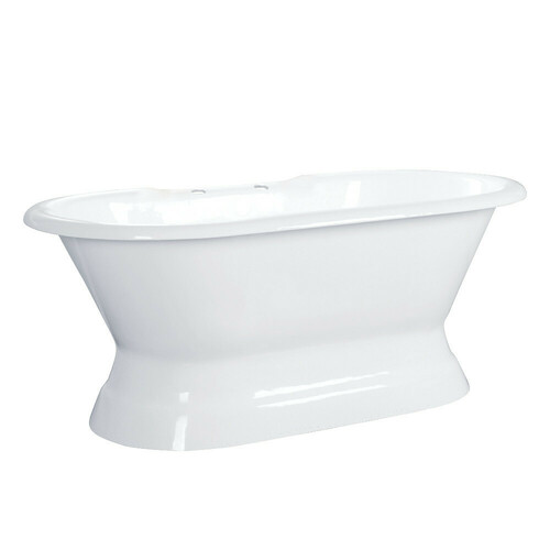 Kingston Brass VCT7D603024 60-Inch Cast Iron Double Ended Pedestal Tub with 7-Inch Faucet Drillings, White