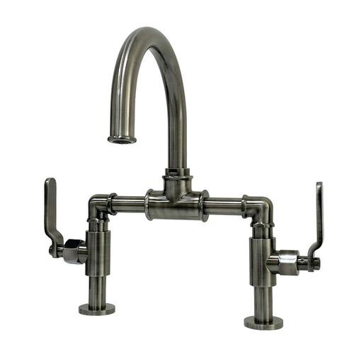 Kingston Brass KS217KLVN Whitaker Industrial Style Bridge Bathroom Faucet with Pop-Up Drain, Black Stainless