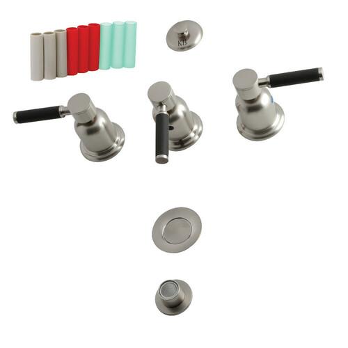 Kingston Brass KB6328DKL 3-Handle Bidet Faucet, Brushed Nickel