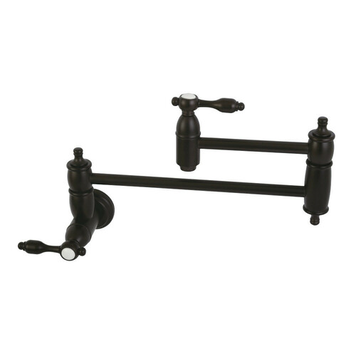 Kingston Brass KS3105TAL Tudor Wall Mount Pot Filler Kitchen Faucet, Oil Rubbed Bronze