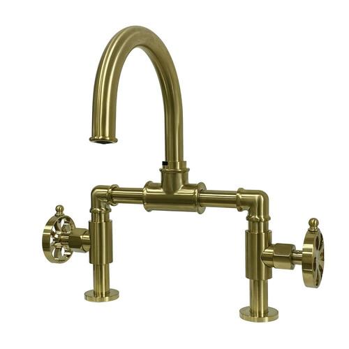 Kingston Brass KS2177RX Belknap Industrial Style Wheel Handle Bridge Bathroom Faucet with Pop-Up Drain, Brushed Brass