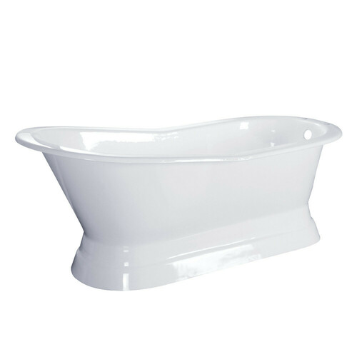 Kingston Brass VCT7D673128 67-Inch Cast Iron Single Slipper Pedestal Tub with 7-Inch Faucet Drillings, White